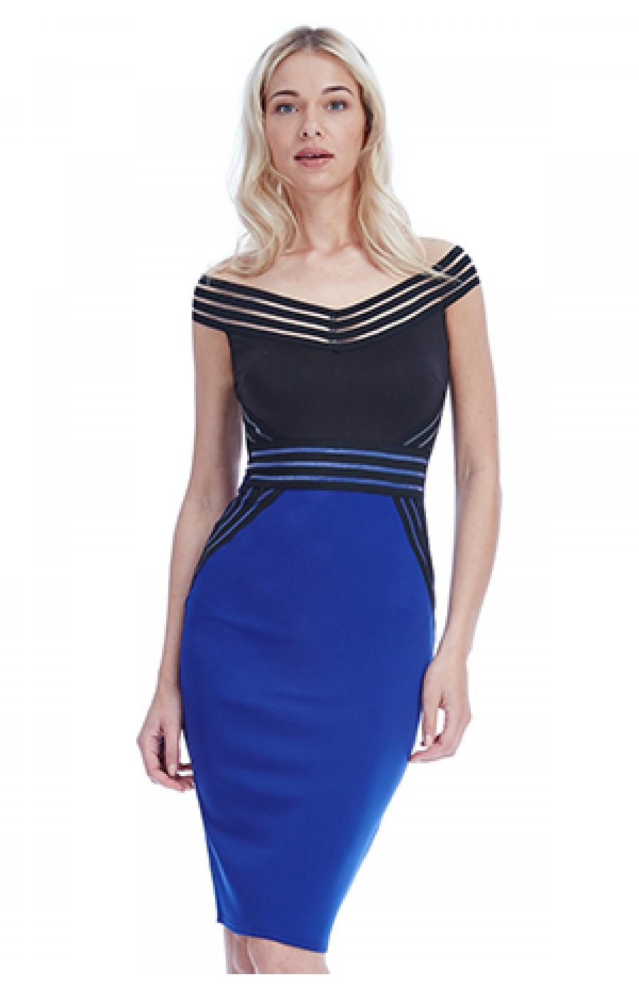 Φορεμα με λεπτομερειες απο λαστιχο και διαφανεια σε μαυρο με μπλε