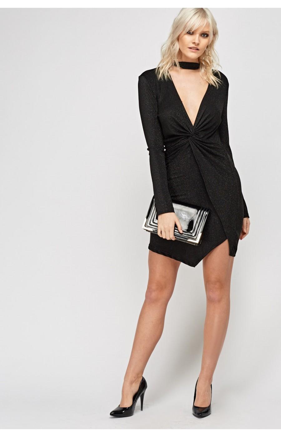 Φορεμα ελαστικο κοντο μαυρο με μανικι και τσοκερ